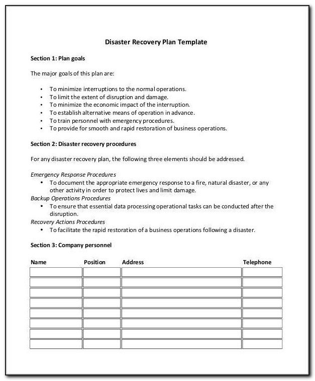 Healthcare Disaster Recovery Plan Template