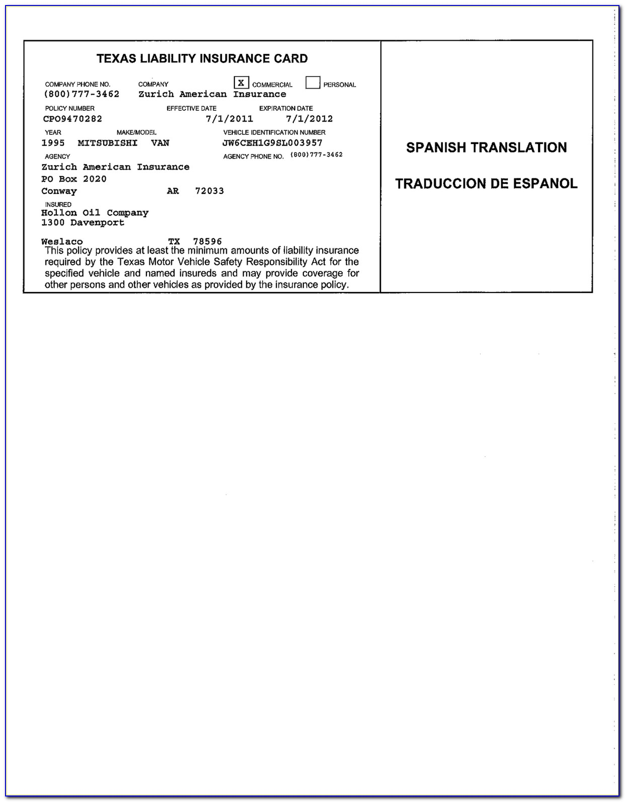 Progressive Car Insurance Card With Auto Insurance Card Template