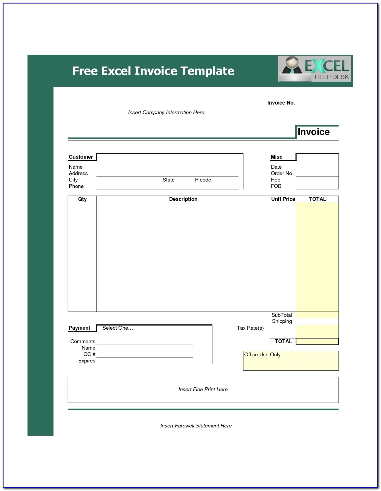 Download Invoice Template Excel Invoice Template Free 2016 Invoice Template Free Download Excel