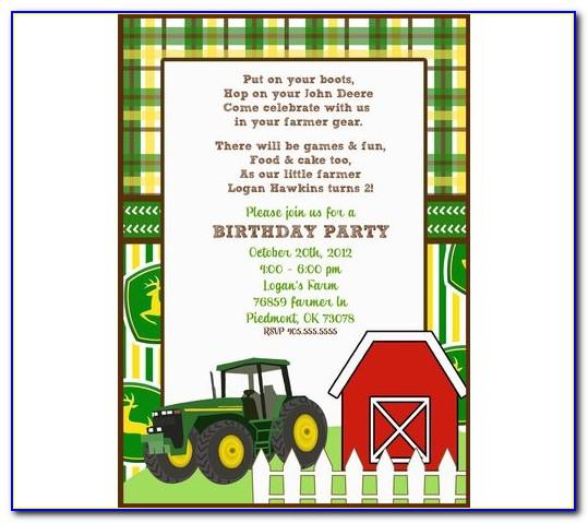 John Deere Birthday Invitation Templates Free