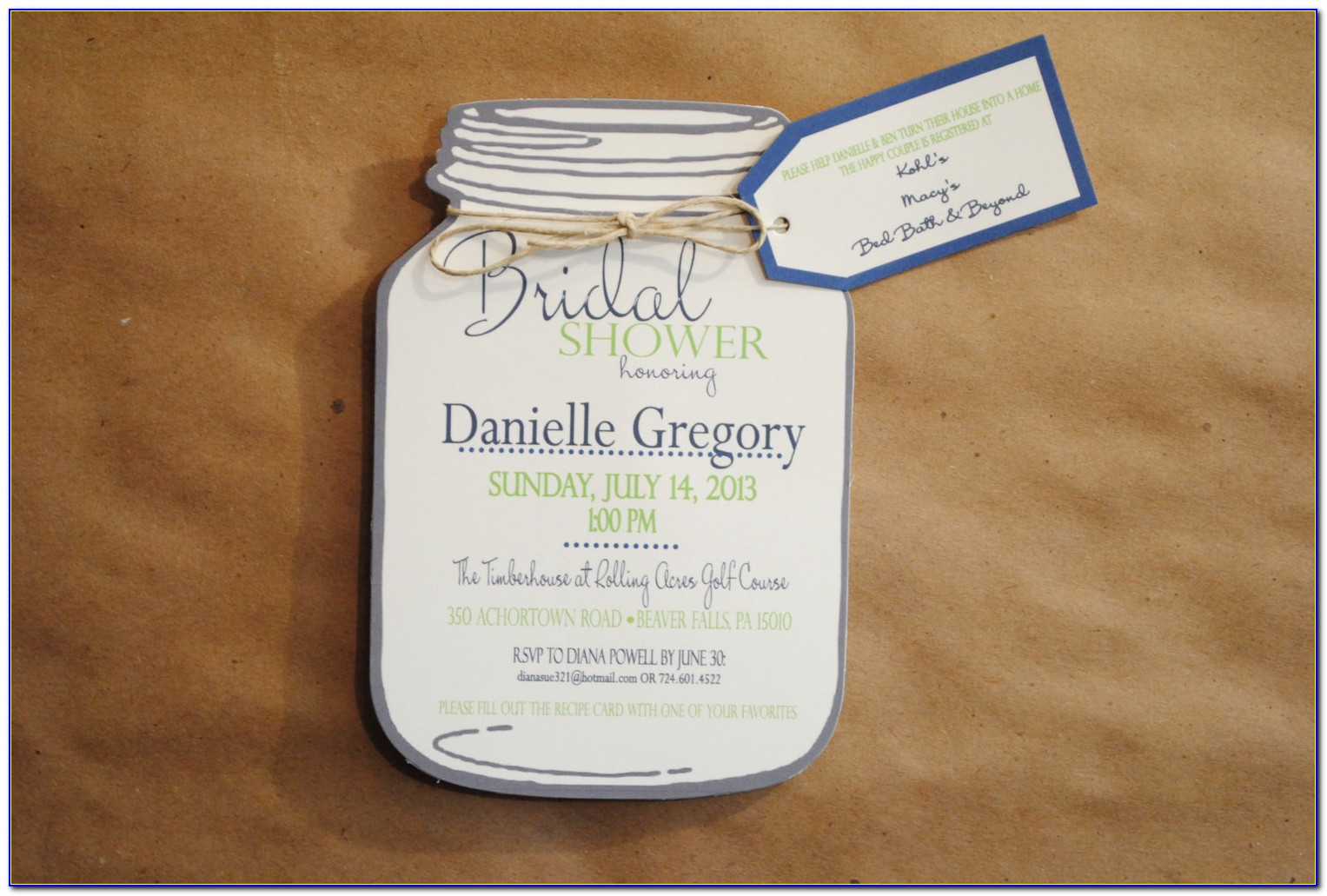 Mason Jar Bridal Shower Invitations Templates