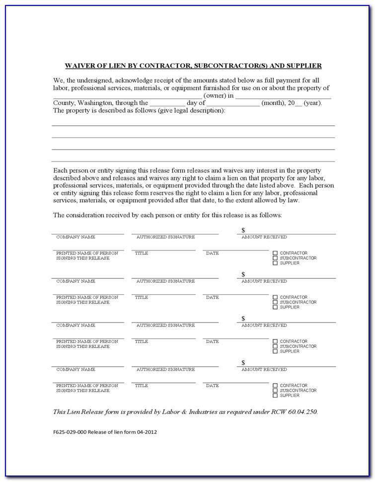 Material Supplier Lien Waiver Form
