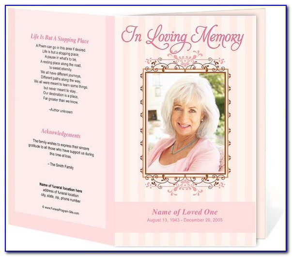 Memorial Card Template Publisher