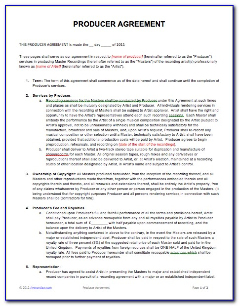 Music Video Production Contract Template
