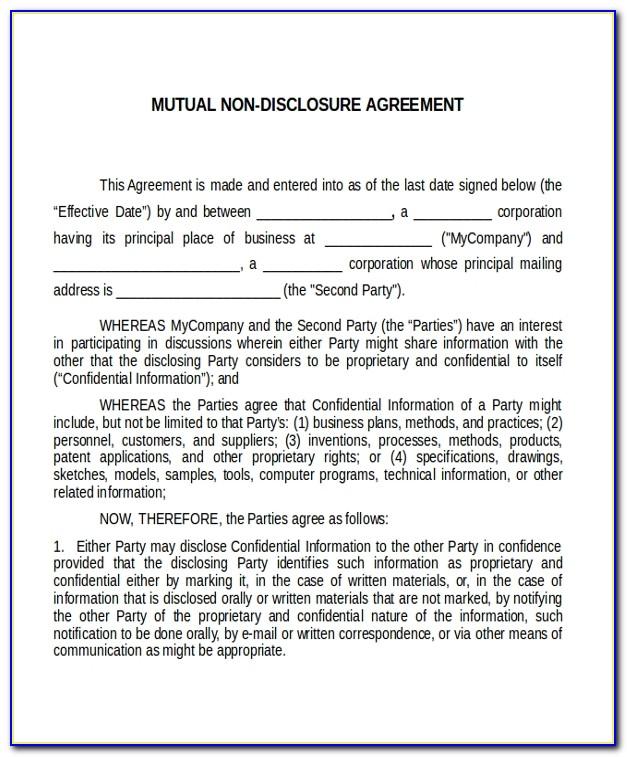Mutual Non Disclosure Agreement Template Australia