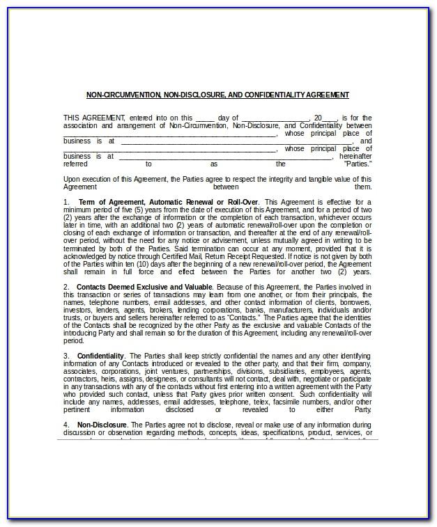 Non Circumvention Non Disclosure Agreement Sample