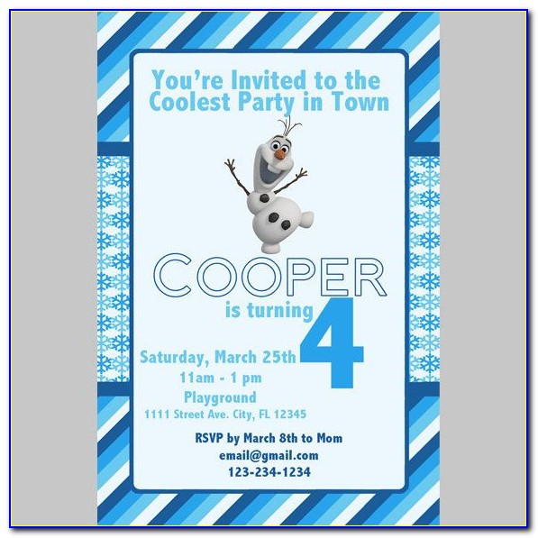 Olaf Frozen Invitation Template