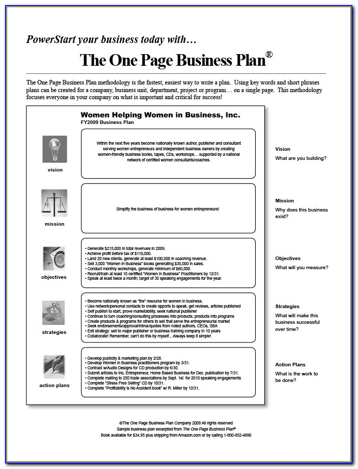 One Page Business Plan Example Pdf