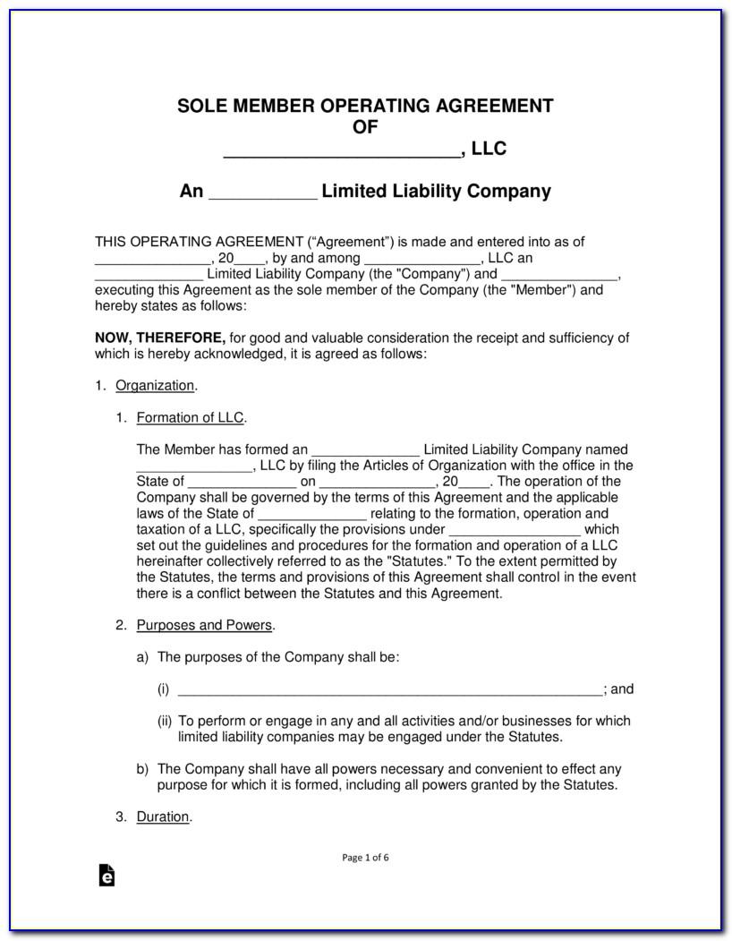 Operating Agreement Llc Template Florida