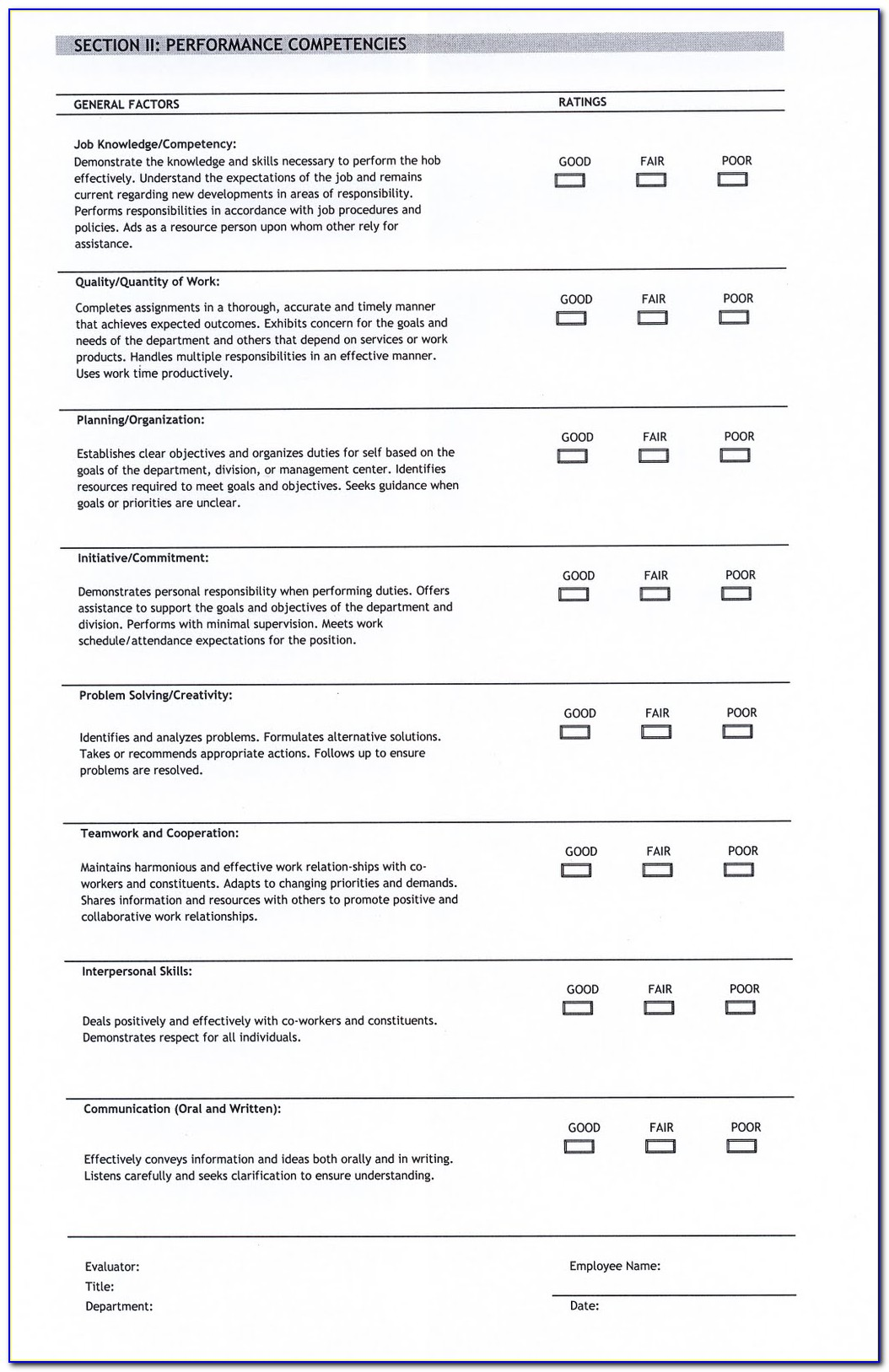 Performance Appraisals Templates