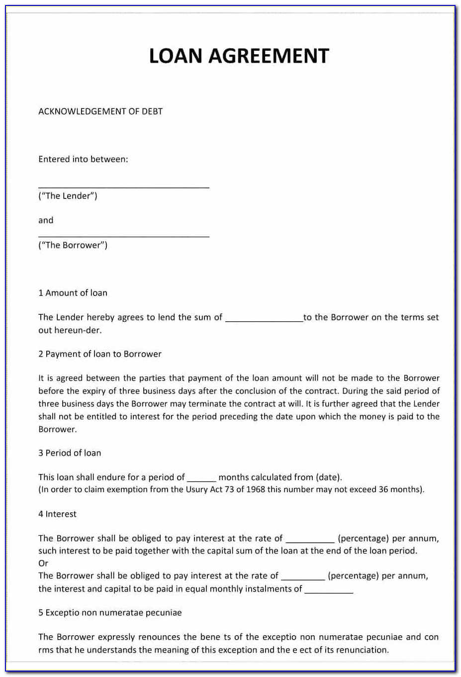 Personal Loan Contract Template Free Download