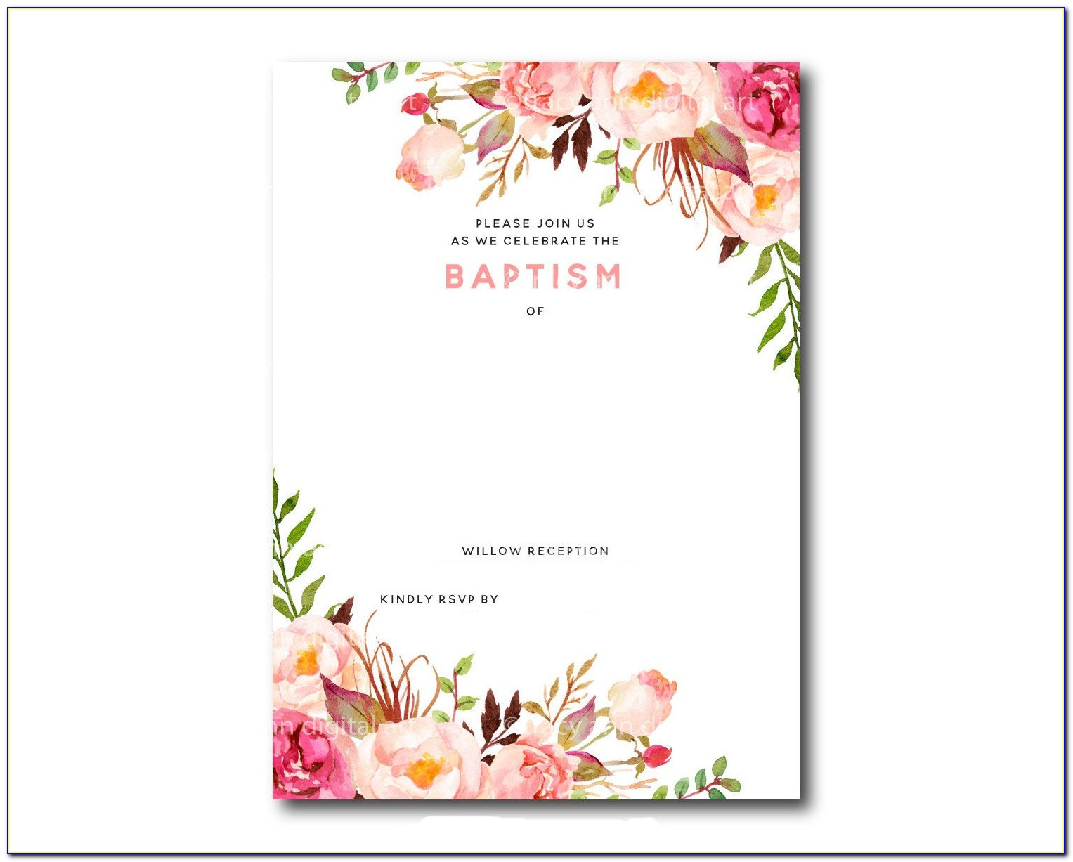 Photoshop Baptism Invitation Templates Free
