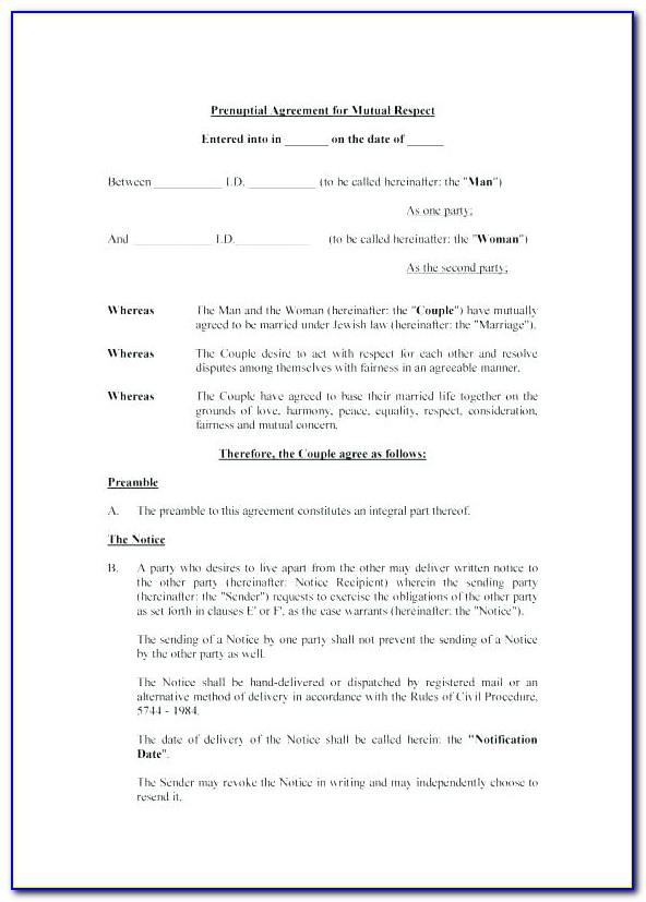 Prenuptial Agreement Template South Africa