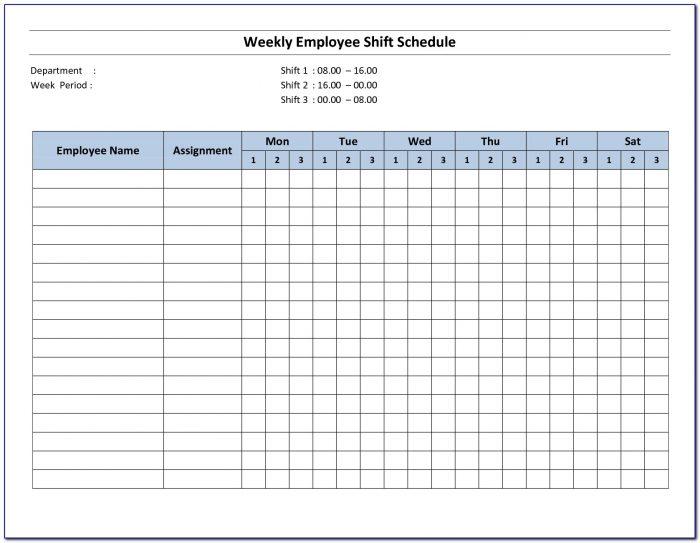 Printable Employee Schedule Template Download