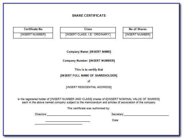 Private Company Share Certificate Template South Africa