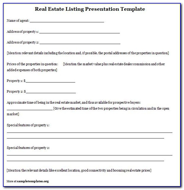 Real Estate Listing Presentation Template Free
