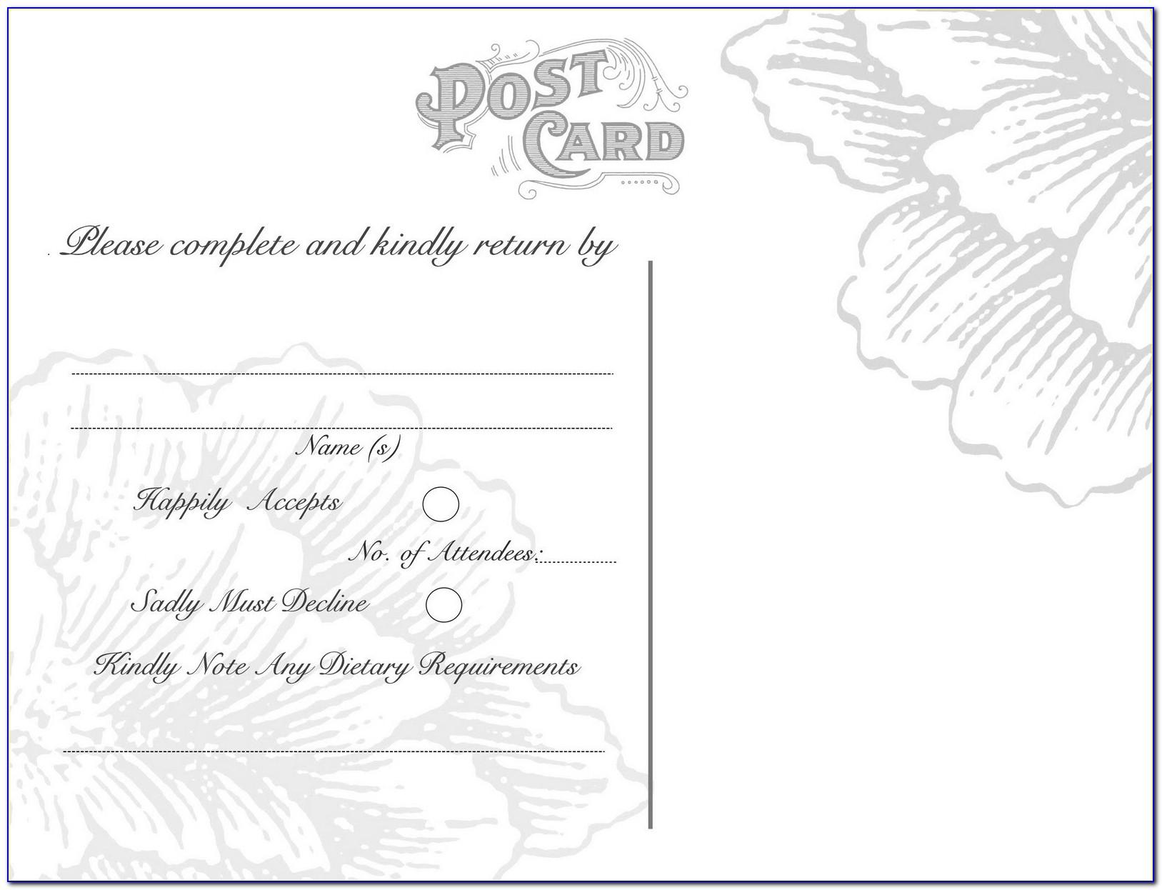 Free Printable Wedding Response Card Template Wedding Rsvp Postcards Templates
