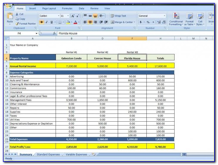 Rental Property Balance Sheet Template Excel