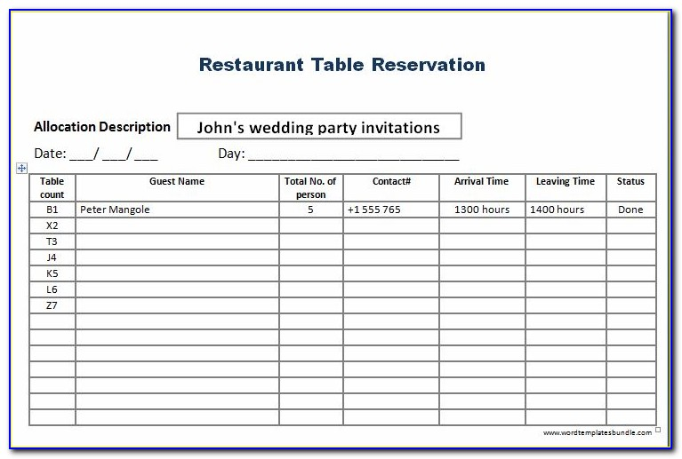 Restaurant Table Booking Excel Template
