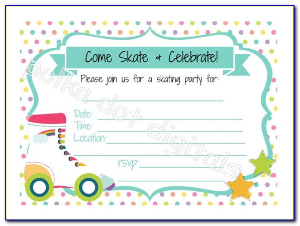 Roller Skating Birthday Party Invitations Free Printable