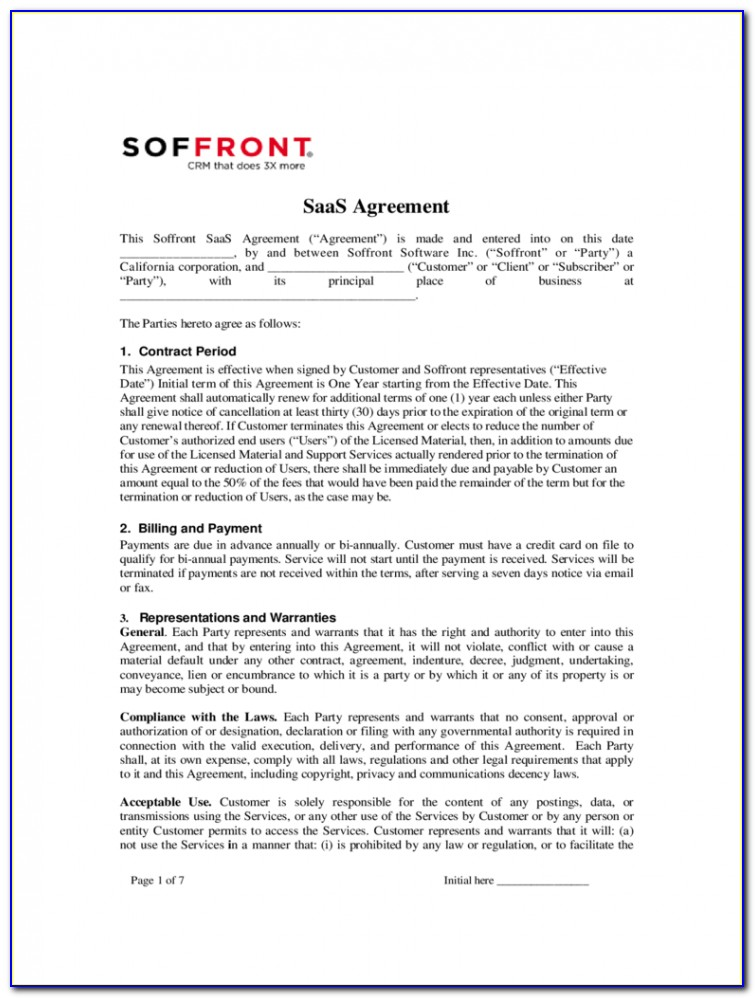 Saas Contract Template Uk