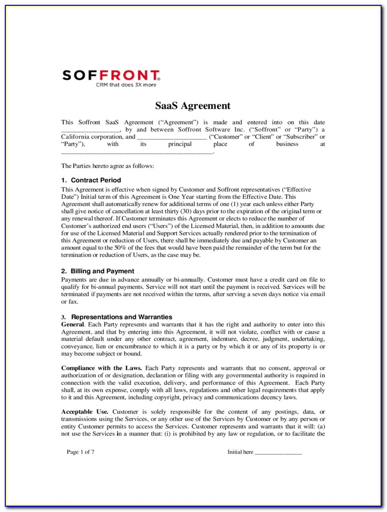Saas License Agreement Template