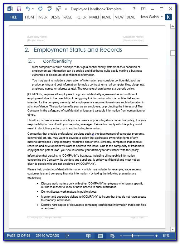 Sample Employee Handbook For Small Business