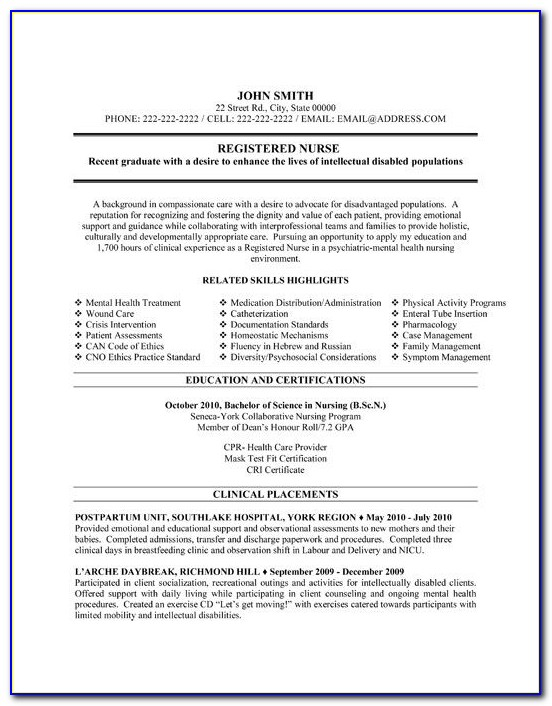 Sample Resume Templates For Nurses