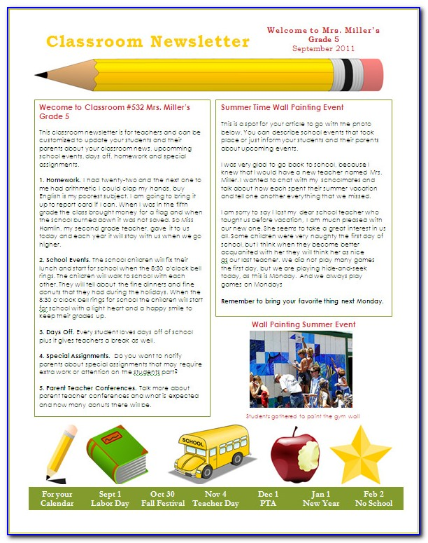 School Newsletter Templates Free Download