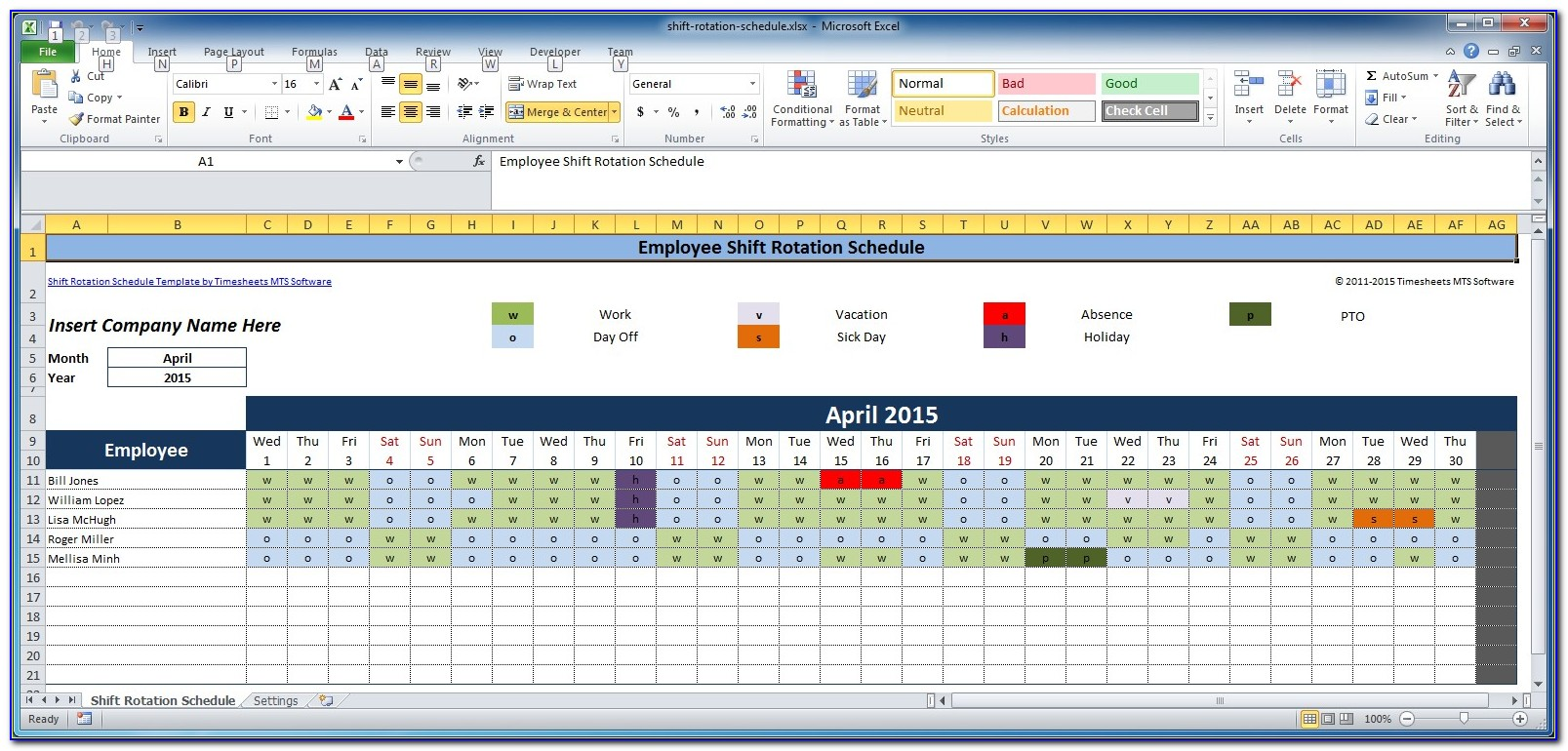 Shift Scheduling Template Free