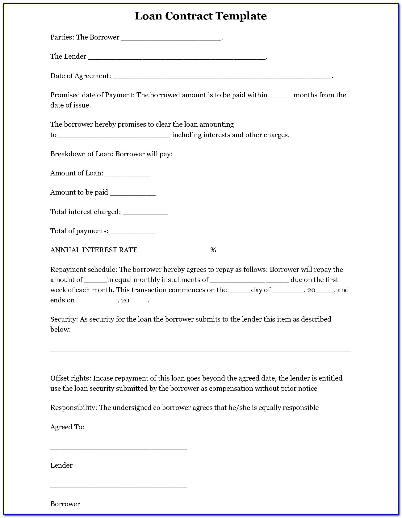 Simple Loan Agreement Template Word Free