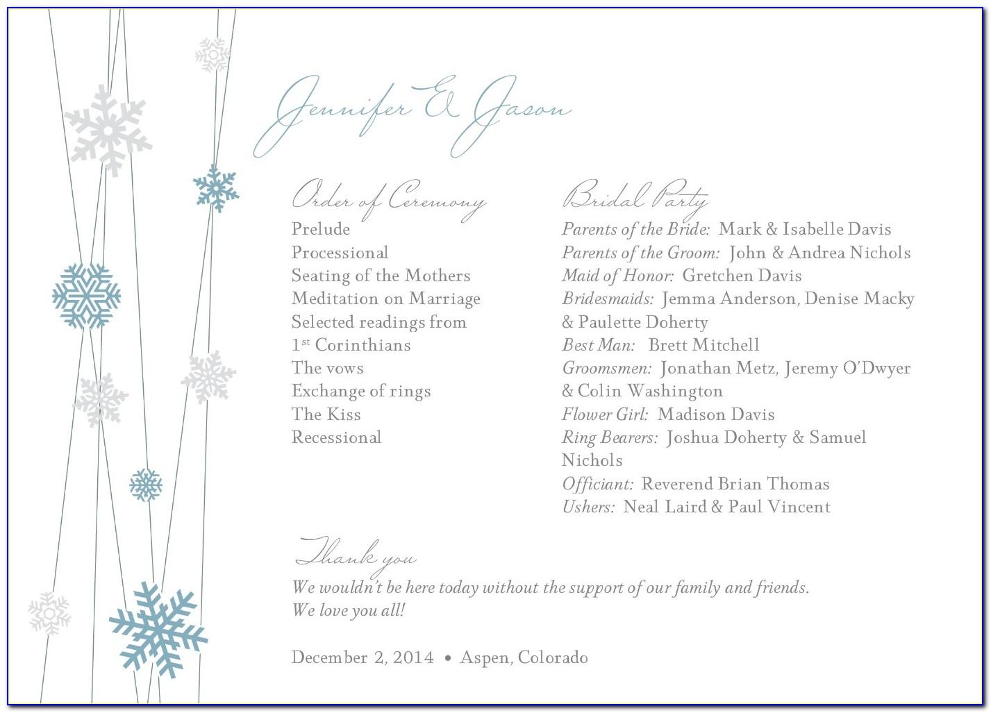 Snowflake Wedding Program Templates