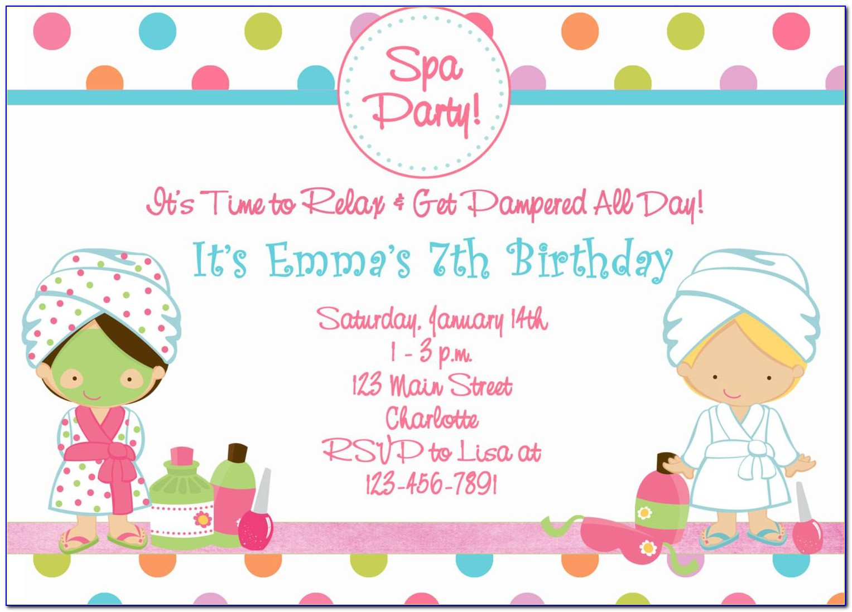 Spa Birthday Party Invitations Templates