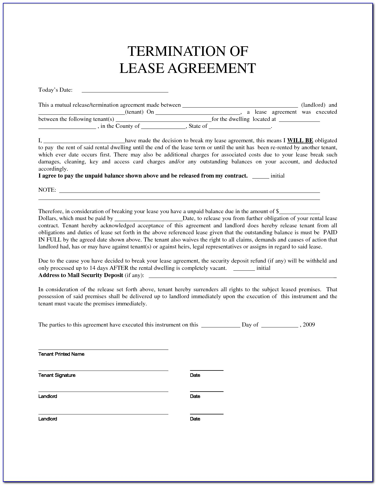 Template Of Lease Agreement For Apartment