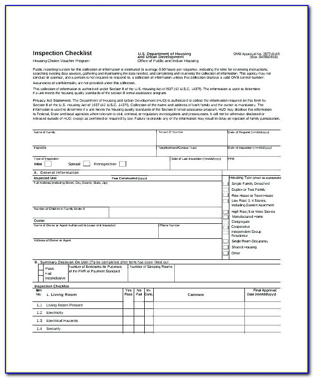 Tenant Inspection Checklist Template