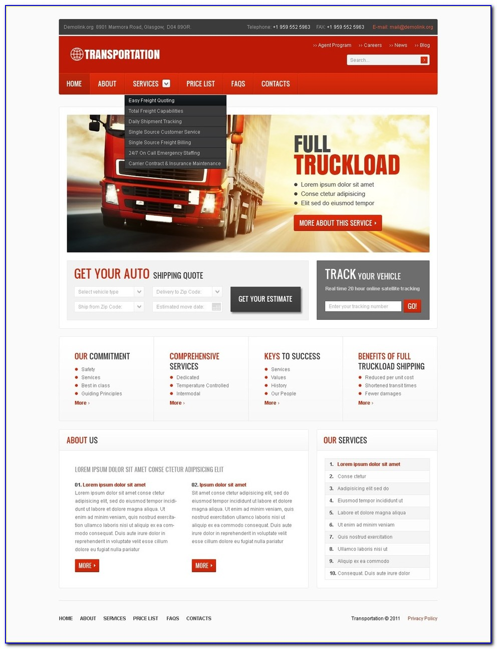 Tracking Website Templates Free Download