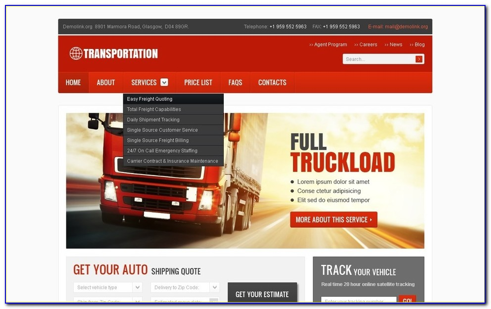Vehicle Tracking Website Templates Free Download