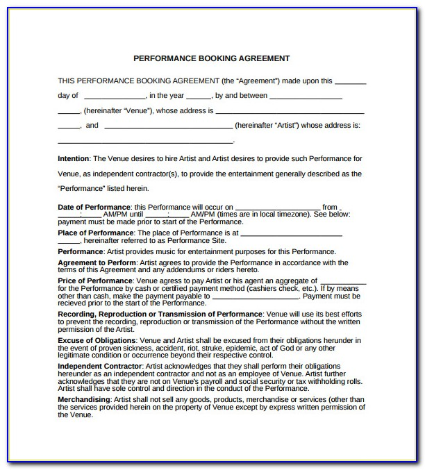 Venue Booking Contract Template