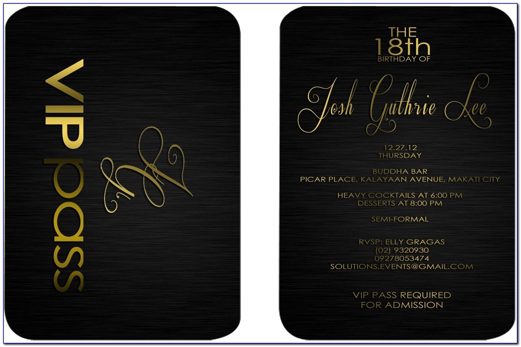 Vip Invitation Card Template Free
