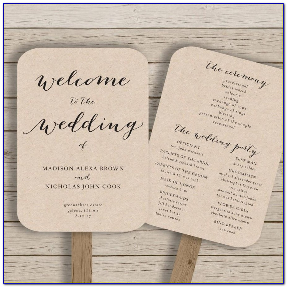 Wedding Fan Program Template Word