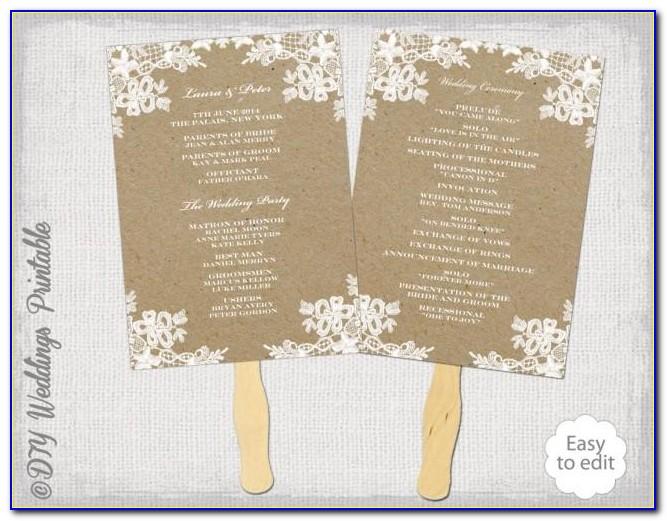Wedding Program Fan Template Microsoft Word