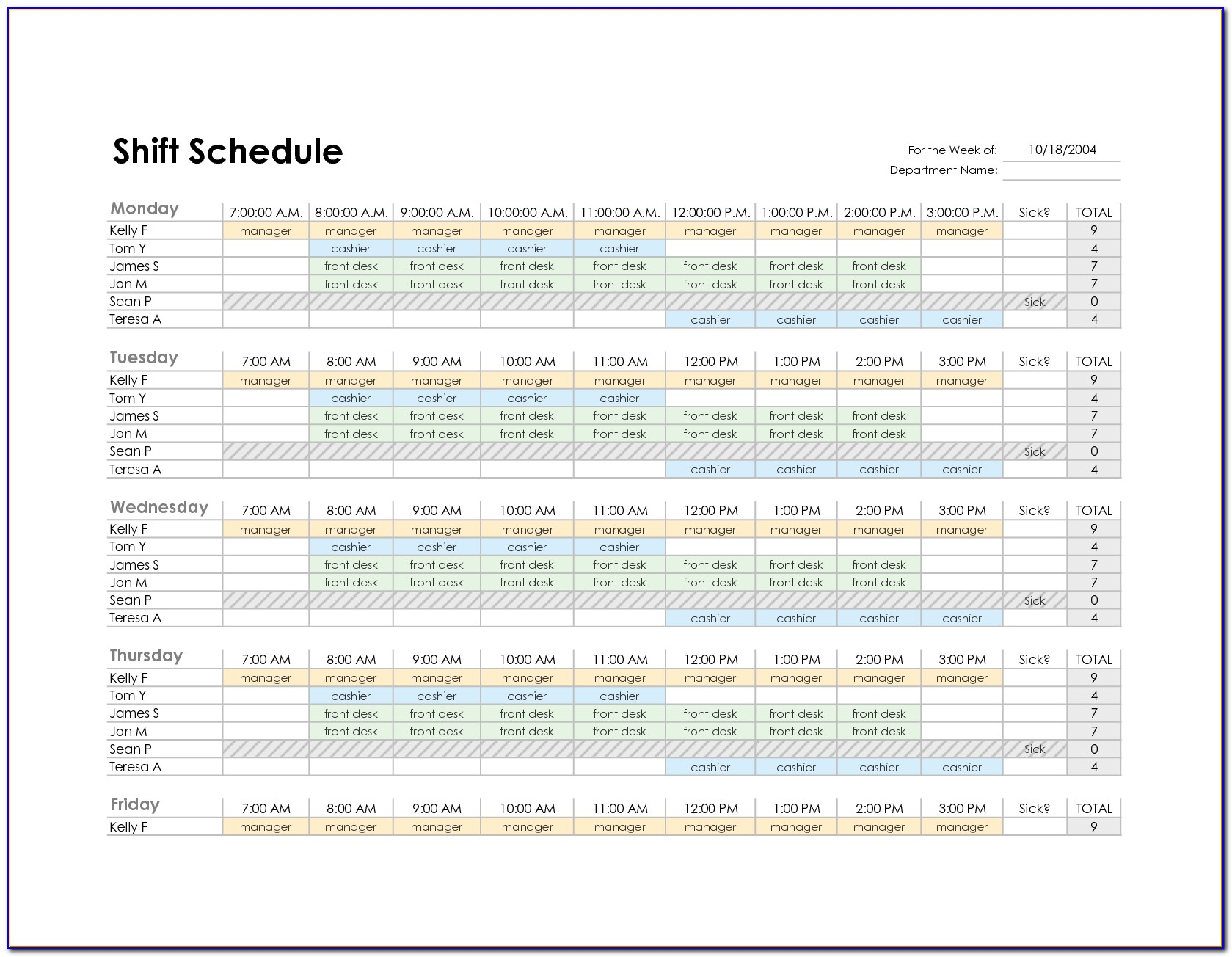 Weekly Employee Shift Schedule Template Excel Download