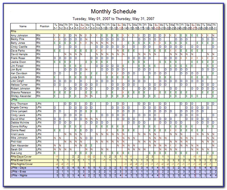 Weekly Staff Schedule Template Excel