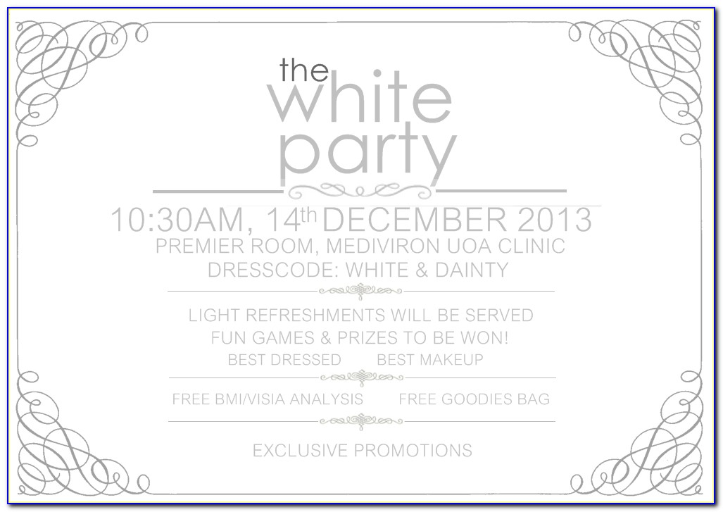 White Party Invitations | Theruntime Within White Party Invitation Template