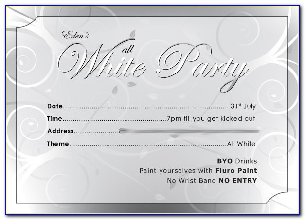 White Trash Party Invitation Templates