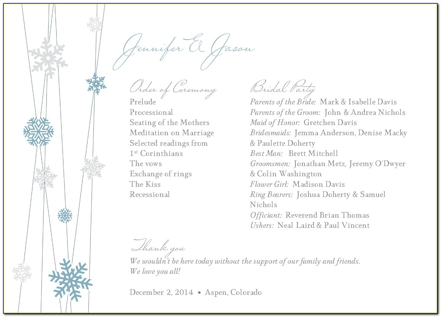 Winter Wedding Program Templates Free