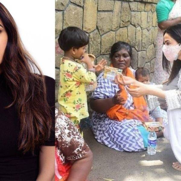Sonal Chauhan Distributes Parle Biscuits and Water to needy