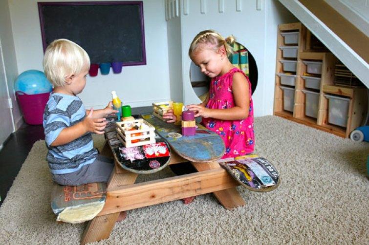 18. Skateboards Turned Into Children Picnic Table