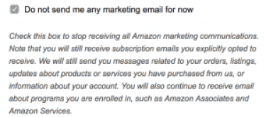 Amazon Do not send me any marketing email for now