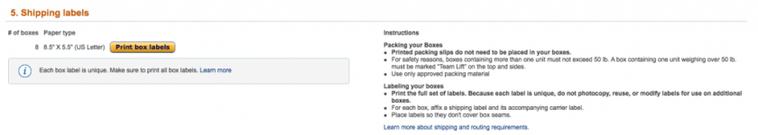 Amazon FBA shipping labels